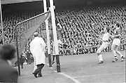 The Galway goalie saves the ball during the start of the All Ireland Senior Gaelic Football Championship Final Cork v Galway in Croke Park on the 23rd September 1973. Cork 3-17 Galway 2-13.