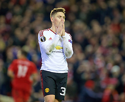 LIVERPOOL, ENGLAND - Thursday, March 10, 2016: Manchester United's Guillermo Varela looks dejected as his side lose 2-0 to Liverpool during the UEFA Europa League Round of 16 1st Leg match at Anfield. (Pic by David Rawcliffe/Propaganda)