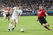 Real Madrid Midfielder Gareth Bale takes on Manchester United Defender Luke Shaw during the International Champions Cup match between Manchester United and Real Madrid at the Hard Rock Stadium, Miami, United States on 31 July 2018. Picture by Phil Duncan.