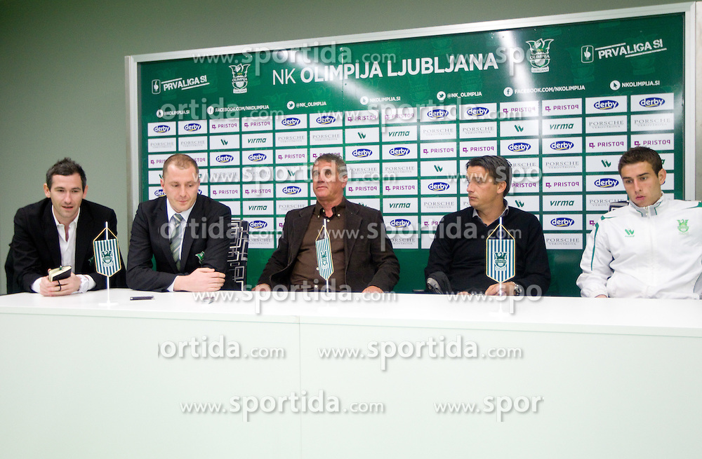Tine Zupan, Sanel Konjevic, director, Bojan Prasnikar, head coach, Milenko Acimovic, sports director and player Boban Jovic during press conference of NK Olimpija Ljubljana, on March 19, 2012, in SRC Stozice, Ljubljana, Slovenia. (Photo by Vid Ponikvar / Sportida.com)