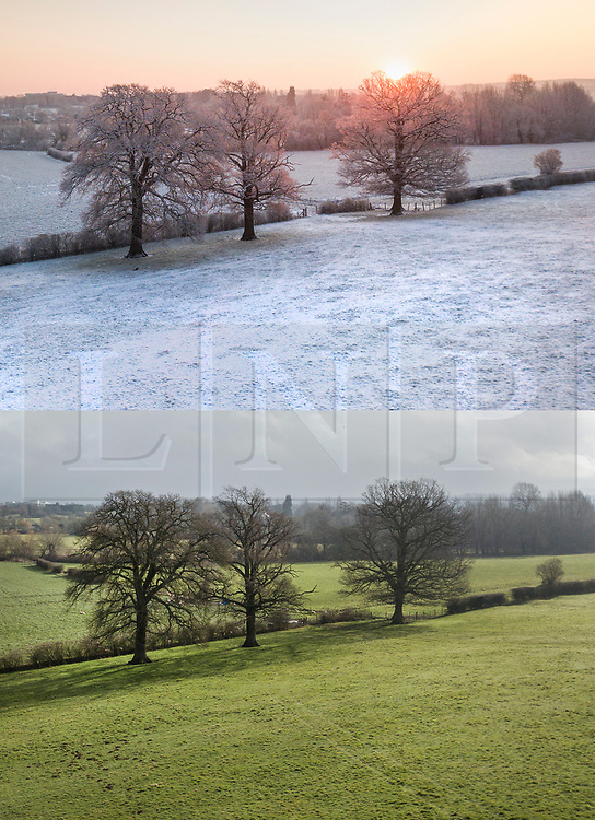 © Licensed to London News Pictures. 04/03/2018. Leatherhead, UK. In this combined image fields that were blocked with snow near Fetcham in Surrey on 28th Feb are now showing more Spring like colours as the snow has melted. Large parts of the UK are recovering from a week of sub zero temperatures and heavy snowfall, following two severe cold fronts. Photo credit: Peter Macdiarmid/LNP