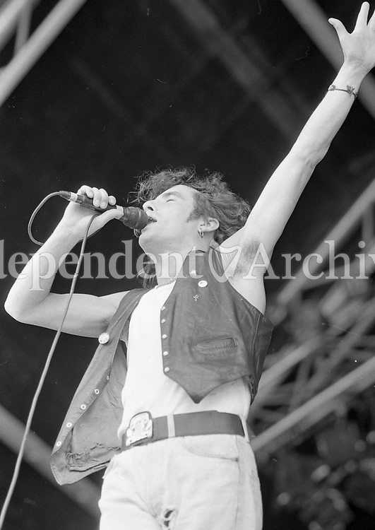 The Golden Horde on stage at Feile Festival in Thurles, Tipperary, 02/08/1991 (Part of the Independent Newspapers Ireland/NLI Collection).