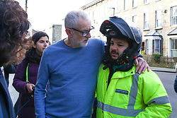 © Licensed to London News Pictures. 04/01/2020. London, UK. Leader of Labour Party, JEREMY CORBYN (L) offers his support to Uber Eat driver ZAKARIA GHERABI (R) at the crime scene in Finsbury Park. Police launch a murder investigation following a death of a man in his 30s on Friday 3 January 2020. Police were called at approximately 6.50pm to reports of a man stabbed and the he was pronounced dead at the scene just after 7.30pm.  Photo credit: Dinendra Haria/LNP