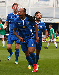 October 7, 2017 - Billericay, England, United Kingdom - Ricky Modeste of Billericay Town celebrates scoring his sides first goal .during Bostik League Premier Division match between Billericay Town against Hendon FC at New Lodge Ground, Billericay on 07 Oct 2017  (Credit Image: © Kieran Galvin/NurPhoto via ZUMA Press)