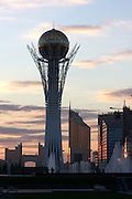 """The Baiterek is the New Astana's main symbol and landmark. State Gas Headquarters (l.) - the """"Ashtray""""; Transport Ministry (r.) - the """"Lighter""""."""