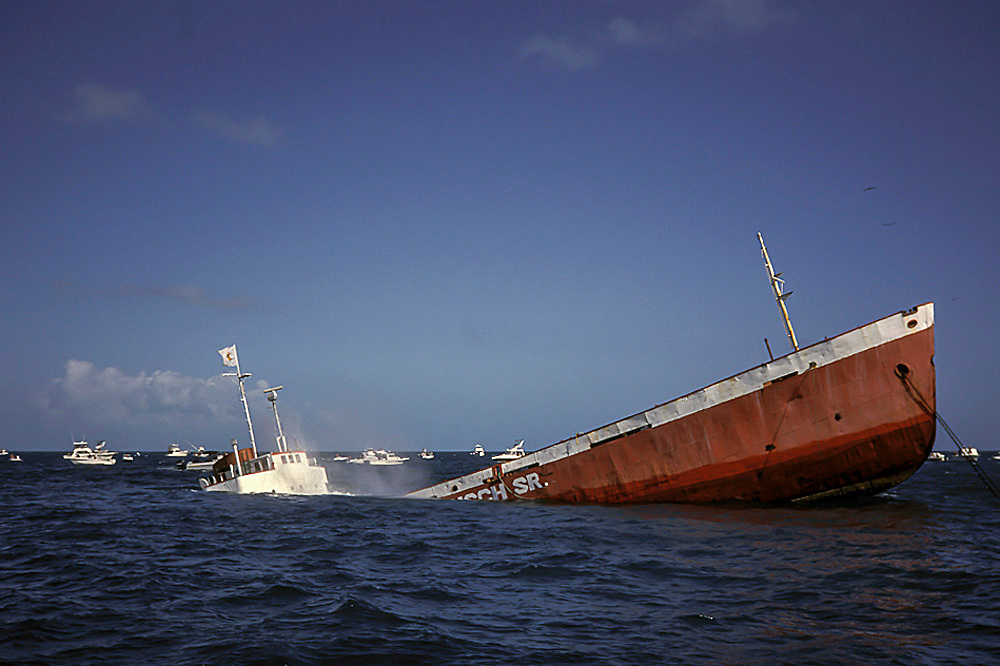 An artificial reef, the Adolphus Busch, sinks in Looe Key, Florida, United States.