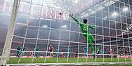 AMSTERDAM, Ajax - Feyenoord, voetbal, Eredivisie, seizoen 2016-2017, 02-04-2017, Stadion De Arena, Ajax speler Lasse Schone (3L) scoort de 1-0, Feyenoord keeper Brad Jones (3R) is kansloos.