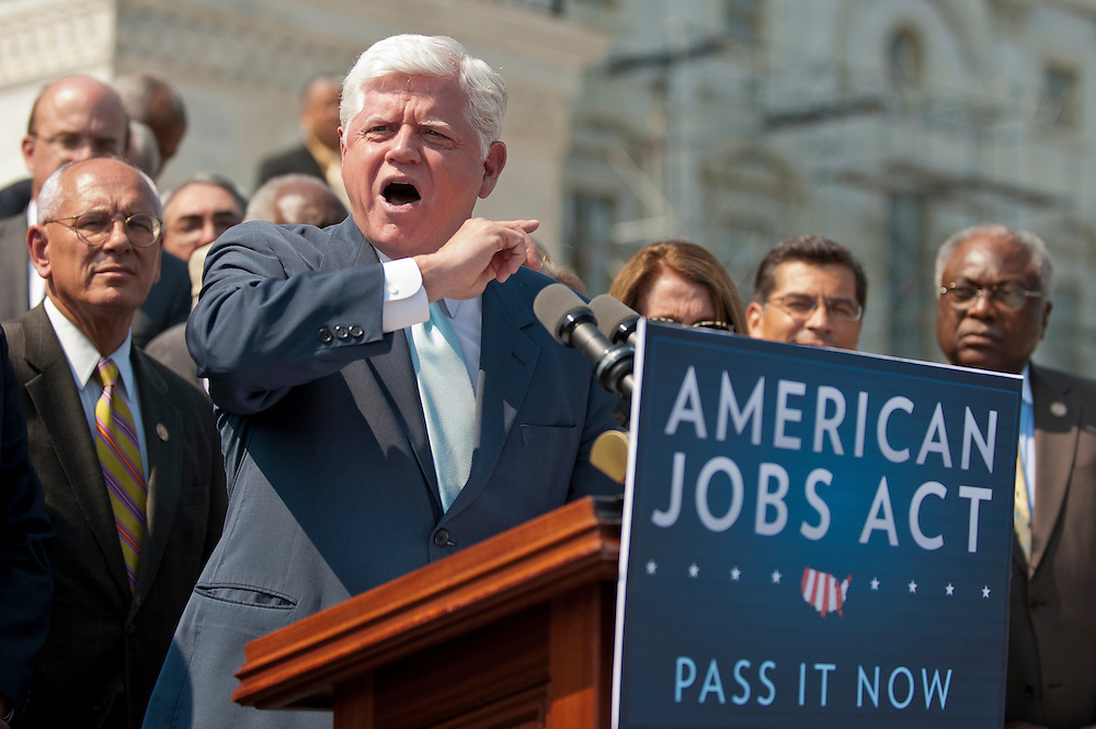 "Surrounded by his colleagues on the steps of the Capitol Wednesday, Rep. JOHN LARSON (D-CT)  said that ""Fourteen million people do not have 14 months to wait,"" referring to the number of unemployed Americans and the time until the next election."