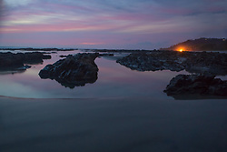 Twilight reflected on Playa Hermosa