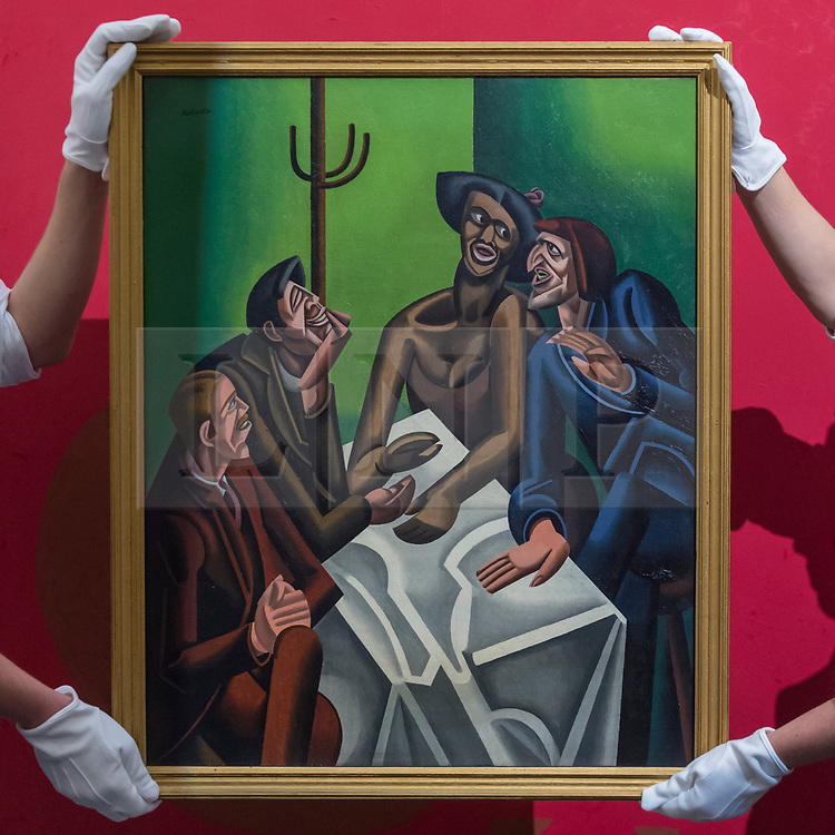 """© Licensed to London News Pictures. 16/11/2018. LONDON, UK. Technicians present """"The Joke"""", 1923, by William Roberts (Est. GBP300,000-500,000). Preview of Sotheby's autumn sale of Modern & Post War British art.  Works from the British art scene of the past century will be offered for sale on 20 and 21 November 2018 at Sotheby's in London.  Photo credit: Stephen Chung/LNP"""