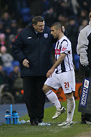 Photo: Mark Stephenson.<br />West Bromwich Albion v Southampton. Coca Cola Championship. 10/02/2007. West Brom's manager Tony Mowbray with Neil Clement