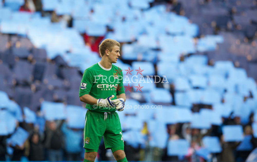 MANCHESTER, ENGLAND - Sunday, March 13, 2011: Manchester City's goalkeeper Joe Hart before the FA Cup 6th Round match against Reading at the City of Manchester Stadium. (Photo by David Rawcliffe/Propaganda)