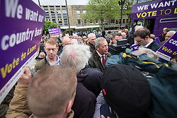 © Licensed to London News Pictures . 25/05/2016 . Bolton , UK . The UKIP referendum bus tour , campaigning for a UK Brexit , lead by NIGEL FARAGE , in Victoria Square , Bolton . Photo credit : Joel Goodman/LNP