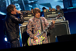 © licensed to London News Pictures . 30/06/2012 . Manchester , UK . L-R:  Ian Brown , Mani . The Stone Roses on stage at Heaton Park during the band's comeback event . Photo credit : Joel Goodman/LNP