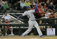 Jul 10, 2013; Phoenix, AZ, USA;  Los Angeles Dodgers infielder Hanley Ramirez (13) against the Arizona Diamondbacks at Chase Field.  The Dodgers defeated the Diamondbacks 7-5 in extra innings.  Mandatory Credit: Jennifer Stewart-USA TODAY Sports
