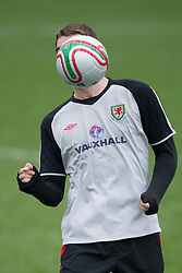 CARDIFF, WALES - Monday, March 21, 2011: Wales' Sam Vokes during a training session at the Vale of Glamorgan ahead of the UEFA Euro 2012 qualifying Group G match against England. (Photo by David Rawcliffe/Propaganda)
