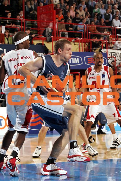 DESCRIZIONE : Forli Lega A1 2005-06 Coppa Italia Final Eight Tim Cup Carpisa Napoli Armani Jeans Milano<br /> GIOCATORE : Rocca<br /> SQUADRA : Carpisa Napoli<br /> EVENTO : Campionato Lega A1 2005-2006 Coppa Italia Final Eight Tim Cup Quarti Finale<br /> GARA : Carpisa Napoli-Armani Jeans Milano<br /> DATA : 17/02/2006<br /> CATEGORIA : Rimbalzo<br /> SPORT : Pallacanestro<br /> AUTORE : Agenzia Ciamillo-Castoria/Paolo Lazzeroni