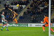 Adama Diomande of Hull City heads the ball toward the goal during the EFL Sky Bet Championship match between Hull City and Barnsley at the KCOM Stadium, Kingston upon Hull, England on 27 February 2018. Picture by Craig Zadoroznyj.
