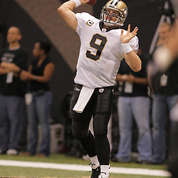 2008 October, 12: New Orleans Saints quarterback Drew Brees (9) during warm ups prior to kickoff of a week six regular season game between the Oakland Raiders and the New Orleans Saints at the Louisiana Superdome in New Orleans, LA.