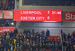LIVERPOOL, ENGLAND - Wednesday, January 20, 2016: Liverpool's scoreboard records the 3-0 victory over Exeter City during the FA Cup 3rd Round Replay match at Anfield. (Pic by David Rawcliffe/Propaganda)