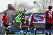 Forest Green Rovers Farrend Rawson(20) heads the ball clear during the EFL Sky Bet League 2 match between Morecambe and Forest Green Rovers at the Globe Arena, Morecambe, England on 17 February 2018. Picture by Shane Healey.