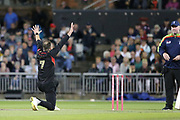 Leicestershire Foxes Arron Lilley appeals for LBW  during the Vitality T20 Blast North Group match between Lancashire Lightning and Leicestershire Foxes at the Emirates, Old Trafford, Manchester, United Kingdom on 30 August 2019.