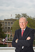 Editorial photography of Bob McCaslin, Mayor of Bentonville, Arkansas, overlooking the downtown Bentonville square.