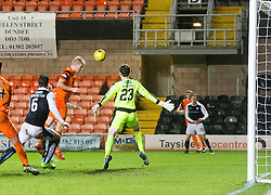 Dundee United's Thomas Mikkelsen scoring their goal. half time : Dundee United 1 v 0 Raith Rovers, Scottish Championship game played 4/2/2017 at Dundee United's stadium Tannadice Park.