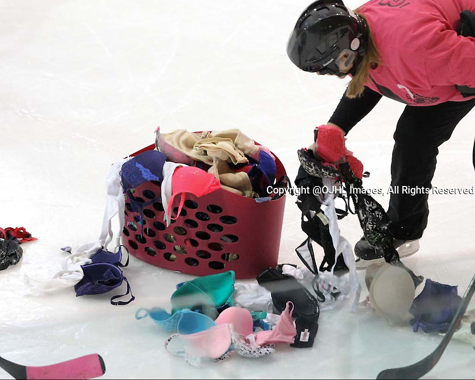 LINDSAY, ON - Oct 16, 2015 : Ontario Junior Hockey League game action between Buffalo and Lindsay. Bob FM Radio personalities pick donated bra's from the ice as apart of the Lindsay Muskies breast cancer awareness campaign.<br /> (Photo by Tim Bates / OJHL Images)