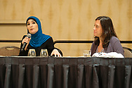 Linda Sarsour, Recipient of the Eleanor Roosevelt Human Rights Leadership Award  from the UUSC<br /> &copy;NancyPierce/UUA
