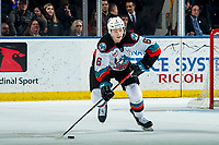 KELOWNA, BC - FEBRUARY 15: Kaedan Korczak #6 of the Kelowna Rockets skates with the puck against the Red Deer Rebels at Prospera Place on February 15, 2020 in Kelowna, Canada. (Photo by Marissa Baecker/Shoot the Breeze)