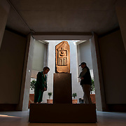 """April 7, 2012 - New York, NY : On exhibit at The Metropolitan Museum of Art in Manhattan from April 10 through August 5, 2012, """"The Dawn of Egyptian Art"""" features 175 objects which trace the evolution of early Egyptian art and iconography.   Among the artifacts on display is this Stela of Raneb or Nebra; Dynasty 2 (ca. 2880 B.C.); Probably Saqqara; Granite -- from The Metropolitan Museum of Art, Purchase, Joseph Pulitzer Bequest, 1960 (60.144); Purchase, Lila Acheson Wallace Gift, 1975 (1975.149). CREDIT: Karsten Moran for The New York Times"""