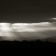 Black and White of sunrise over San Tan Valley - AZ
