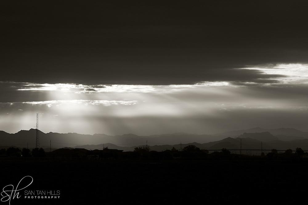 Black and White of sunrise over San Tan Valley - AZ