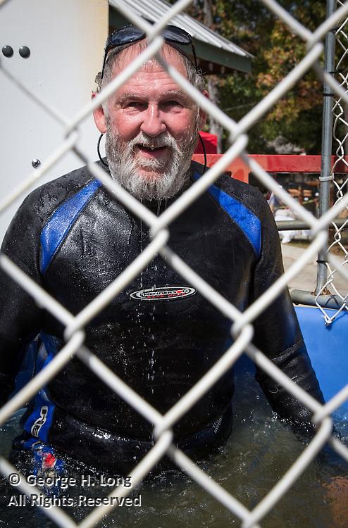 Mayor Greg Lemons in the dunking booth at the Abita Springs Water Festival on October 16, 2016