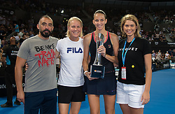 January 6, 2019 - Brisbane, AUSTRALIA - Karolina Pliskova of the Czech Republic and coach Rennae Stubbs with the winners trophy after the final of the 2019 Brisbane International WTA Premier tennis tournament (Credit Image: © AFP7 via ZUMA Wire)