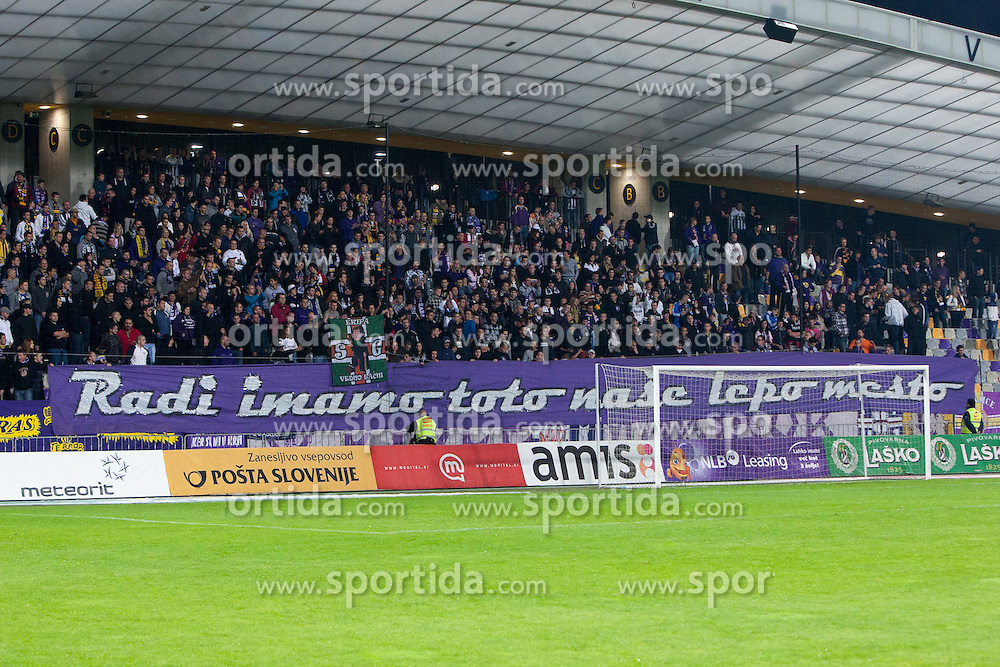 Fans during football match between NK Maribor and NK Olimpija Ljubljana in 14th Round of Slovenian First League PrvaLiga NZS 2012/31 on October 20, 2012 in Stadium Ljudski vrt, Maribor, Slovenia. (Photo By Gregor Krajncic / Sportida)