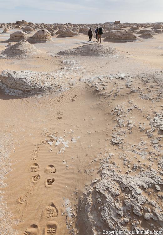 Trekking through the chalk and sand landscape of the White Desert