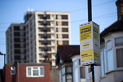 © Licensed to London News Pictures. 04/04/2018. London, UK. An anti-crime sign on Chalgrove Road in Tottenham, north London where 17 year old Tanesha Melbourne was shot dead. A recent spree of killings in the capital has taken the murder toll for the year so far to 48. Photo credit: Ben Cawthra/LNP