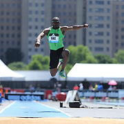 Tosin Oke, Nigeria, in action in the Men's Triple Jump Competition during the Diamond League Adidas Grand Prix at Icahn Stadium, Randall's Island, Manhattan, New York, USA. 13th June 2015. Photo Tim Clayton