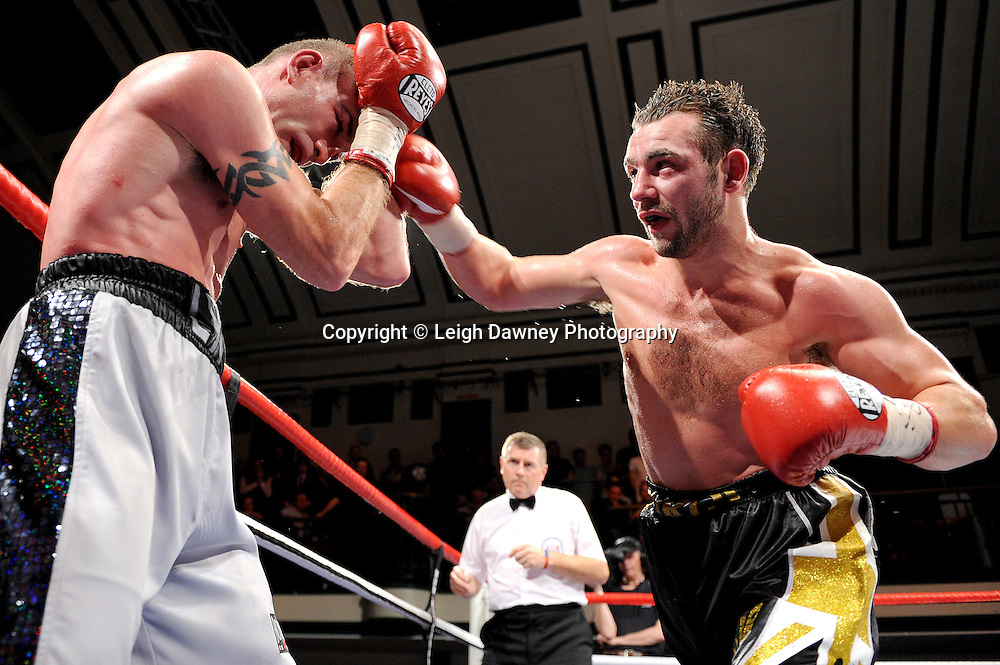 Colin Lynes (left) defeats Lee Purdy for the British Welterweight Title at York Hall 09.11.11. Matchroom Sport. Photo credit: © Leigh Dawney 2011.