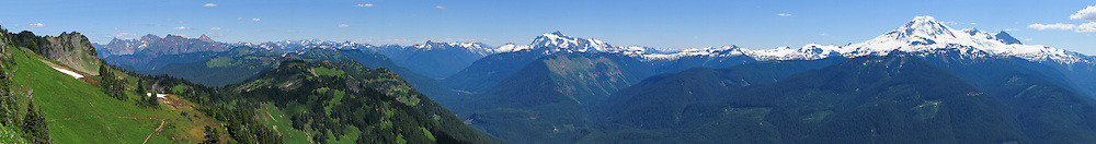Panorama from Church Mountain to Mount Shuksan to Mount Baker. Mount Baker-Snoqualmie National Forest, Washington, USA. (Panorama stitched from 10 images.)