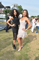 Left to right, JADE McEWAN and VISCOUNTESS WEYMOUTH at the Laureus Polo held at Ham Polo Club, Ham, Richmond, Surrey on 18th June 2015.