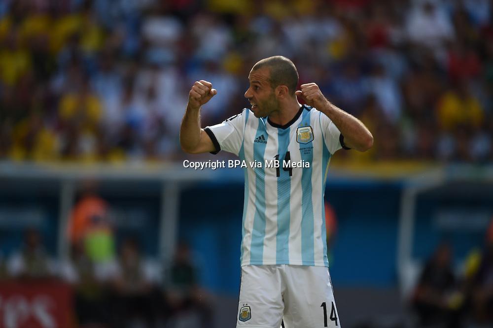 Javier Mascherano. Argentina v Belgium, quarter-final. FIFA World Cup 2014 Brazil. National stadium, Brasilia. 05 July 2014