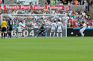 Sunderland's Steven Fletcher (far right) scores his sides 2nd goal. Barclays Premier league, Swansea city v Sunderland at the Liberty Stadium in Swansea, South Wales on Saturday 1st Sept 2012. pic by Andrew Orchard, Andrew Orchard sports photography,