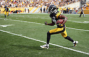 Pittsburgh Steelers cornerback Cortez Allen (28) runs with the ball after intercepting a third quarter pass during the NFL week 4 regular season football game against the Tampa Bay Buccaneers on Sunday, Sept. 28, 2014 in Pittsburgh. The Bucs won the game 27-24. ©Paul Anthony Spinelli