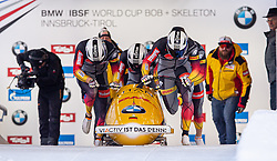 19.01.2020, Olympia Eiskanal, Innsbruck, AUT, BMW IBSF Weltcup Bob und Skeleton, Igls, Bob Viersitzer, Herren, im Bild Pilot Johannes Lochner mit Florian Bauer, Marc Rademacher, Christian Rasp (GER) // Pilot Johannes Lochner with Florian Bauer Marc Rademacher Christian Rasp of Germany during the four-man Bobsleigh competition of BMW IBSF World Cup at the Olympia Eiskanal in Innsbruck, Austria on 2020/01/19. EXPA Pictures © 2020, PhotoCredit: EXPA/ Peter Rinderer