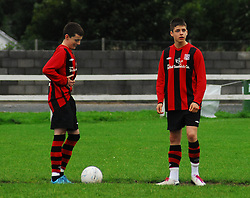 No nerves for Westport Utd's Alan Carroll or Ruairi Keating before Kick off against Claremorris on Monday evening. Westport went on to win 4-0 and become Mayo league u16 Champions...Pic Conor McKeown..Pic Conor McKeown