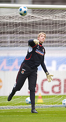 HELSINKI, FINLAND - Friday, October 9, 2009: Wales' goalkeeper Wayne Hennessey during training at the Helsinki Olympic Stadium ahead of the 2010 FIFA World Cup Qualifying Group 4 match against Finland. (Pic by David Rawcliffe/Propaganda)