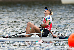 Belarus' Alena Furman celebrates gold after crossing the finish line in the Lightweight Women's Single Sculls Final during day four of the 2018 European Championships at Strathclyde Country Park, North Lanarkshire. PRESS ASSOCIATION Photo. Picture date: Sunday August 5, 2018. See PA story ROWING European. Photo credit should read: Ian Rutherford/PA Wire. RESTRICTIONS: Editorial use only, no commercial use without prior permission